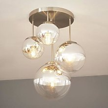 Ceiling light Ravena with spheres, four-bulb