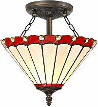 Ceiling light Tiffany Calais 2 red bulbs 40 Cm
