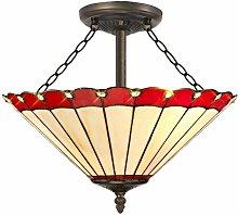 Ceiling light Tiffany Calais 3 bulbs red 22 Cm