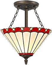 Ceiling light Tiffany Calais 3 Red Bulbs 13 Cm