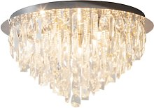 Ceiling Light with Clear Crystals & Flush Fitting