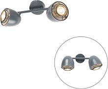 Ceiling spot gray swivel and tiltable 2-light -