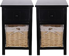 CellDeal Bedside Table Set Of 2pcs Drawers Cabinet