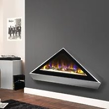Celsi Electriflame Louvre Wall Mounted Fire Silver