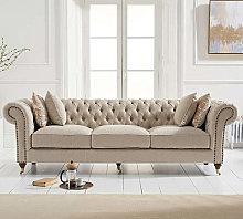 Cemori Chesterfield Linen 3 Seater Sofa In Cream