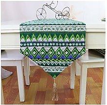Cenliva Gold Table Runner, Cotton Linen Green
