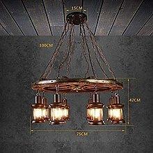 CENPEN Pendant Lights, 8 Solid Wood Chandeliers,