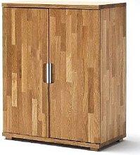 Cento Knotty Oak Low Board Storage Cabinet With 2