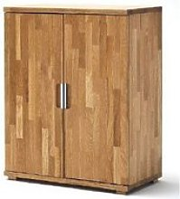 Cento Knotty Oak Low Board Storage Cabinet With 2