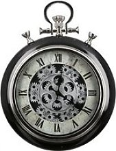 Central Glass Wall Clock With Black And Silver