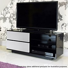 Century TV Stand In Black High Gloss With White