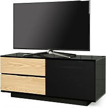 Century Ultra TV Stand In Black Gloss With Oak