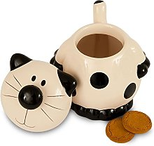 CERAMIC BLACK AND WHITE CAT COOKIE JAR