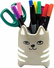 Ceramic Brown & White Cat Pot | Kitchen Accessory