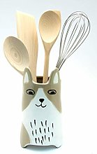 Ceramic Brown & White Cat Vase | Utensil Holder |