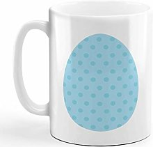 Ceramic Coffee Mug 11 Ounces Dots Print Egg Blue