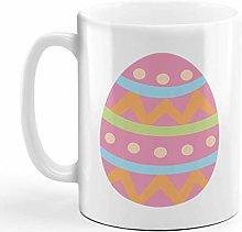 Ceramic Coffee Mug 11 Ounces Pink Colorful Egg