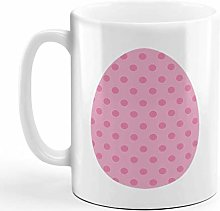 Ceramic Coffee Mug 11 Ounces Pink Egg Dots