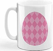 Ceramic Coffee Mug 11 Ounces Rhombus Egg Pink