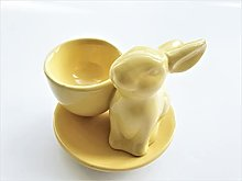Ceramic Easter Bunny Egg Cup (14cm) - Yellow