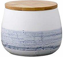 Ceramic Food Storage Jar with Bamboo Lid, White