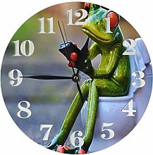 Ceramic Frog On Toilet Clock Battery Operated Wall