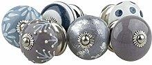 Ceramic Furniture Knobs Assorted Set 6pcs 075GN