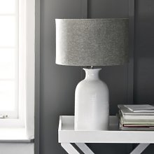 Ceramic Large  Bottle Table Lamp , White Grey, One