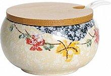 Ceramic Retro Japanese Flower Sugar Bowl Set Sugar