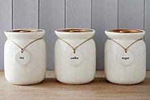 Ceramic Set of 3 White Stylish Kitchen Tea Coffee