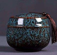 Ceramic Tea Jar with Lid Tassel, Vintage Chinese