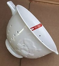 Ceramic White Colander Strawberry Design