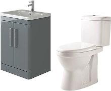Ceti 600mm Floor Grey Vanity Basin Cabinet Unit &