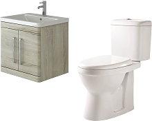 Ceti 600mm Wall Hung Oak Vanity Basin Cabinet Unit