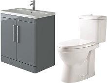 Ceti 800mm Floor Grey Vanity Basin Cabinet Unit &