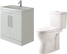 Ceti 800mm Floor White Vanity Basin Cabinet Unit &