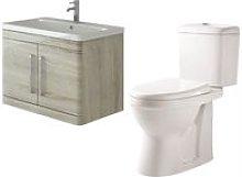 Ceti 800mm Wall Hung Oak Vanity Basin Cabinet Unit