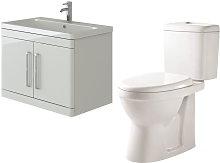 Ceti 800mm Wall Hung White Vanity Basin Cabinet