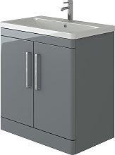 Ceti Vanity Basin Cabinet Light Grey Gloss Floor