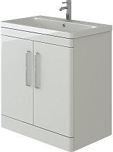 Ceti Vanity Basin Cabinet White Gloss Floor