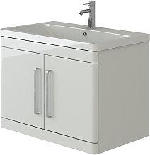 Ceti White Wall Hung 2 Door Vanity Basin Furniture