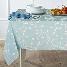 CFWL Fresh blue leaves tablecloth cotton and linen