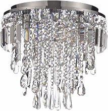 CGC 3 Light Chrome Glass Crystal Droplet Flush