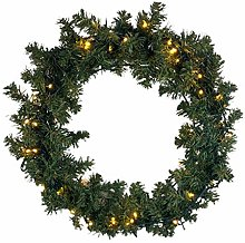 CGC 60cm Luxury Pre lit LED Green Christmas Wreath
