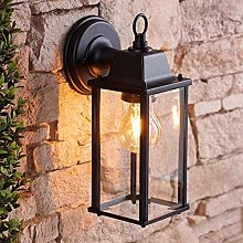 CGC Black Bevelled Glass Coach Lantern Wall Light