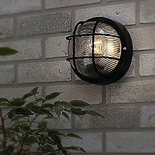 CGC Black Cage Round Bulkhead Wall Ceiling Light