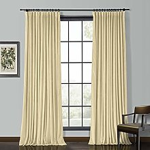 "ChadMade Solid Matt Heavy Velvet Curtain 46"" W"