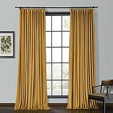 "ChadMade Solid Matt Heavy Velvet Curtain 66"" W"