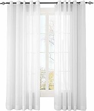 ChadMade White Solid Sheer Curtain With Nickel
