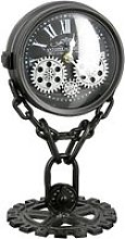 Chain Glass Table Clock With Black And Silver
